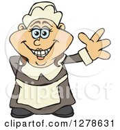 Clipart Of A Happy Female Thanksgiving Pilgrim Waving Royalty Free Vector Illustration by Dennis Holmes Designs