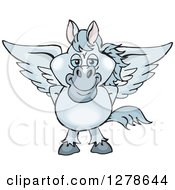 Clipart Of A Happy Gray Pegasus Horse Royalty Free Vector Illustration by Dennis Holmes Designs