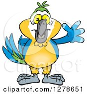 Clipart Of A Blue And Yellow Macaw Parrot Waving Royalty Free Vector Illustration
