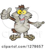 Clipart Of A Happy Owl Holding A Thumb Up Royalty Free Vector Illustration by Dennis Holmes Designs