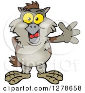 Clipart Of A Happy Owl Waving Royalty Free Vector Illustration by Dennis Holmes Designs