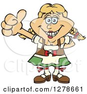 Clipart Of A Happy German Oktoberfest Woman Holding A Thumb Up Royalty Free Vector Illustration