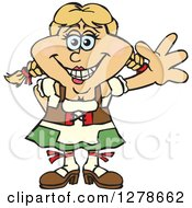 Clipart Of A Happy German Oktoberfest Woman Waving Royalty Free Vector Illustration