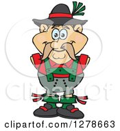 Clipart Of A Happy German Oktoberfest Man Royalty Free Vector Illustration
