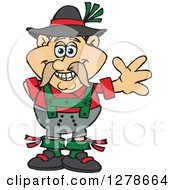 Clipart Of A Happy German Oktoberfest Man Waving Royalty Free Vector Illustration