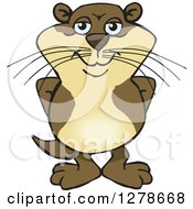 Clipart Of A Happy Otter Standing Royalty Free Vector Illustration