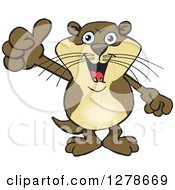 Clipart Of A Happy Otter Holding A Thumb Up Royalty Free Vector Illustration