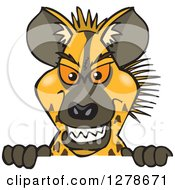 Clipart Of A Hyena Peeking Over A Sign Royalty Free Vector Illustration