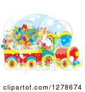 Clipart Of A Cheerful Santa Claus Driving A Train Full Of Christmas Gifts And Toys Royalty Free Vector Illustration