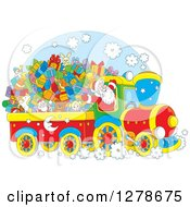 Clipart Of A Cheerful Santa Driving A Train Full Of Christmas Gifts And Toys Royalty Free Vector Illustration