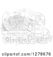 Clipart Of A Black And White Santa Driving A Train Full Of Christmas Gifts And Toys Royalty Free Vector Illustration