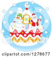 Clipart Of A Festive Christmas Cake With Santa Claus A Snowman Gift And House In A Blue Circle Royalty Free Vector Illustration by Alex Bannykh