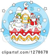 Clipart Of A Festive Christmas Cake With Santa A Snowman Gift And House In A Blue Circle Royalty Free Vector Illustration