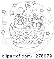 Clipart Of A Black And White Festive Christmas Cake With Santa A Snowman Gift And House In A Circle Royalty Free Vector Illustration
