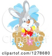 Clipart Of A Happy Easter Bunny Rabbit In A Basket With A Blue Bow And Flowers Royalty Free Vector Illustration