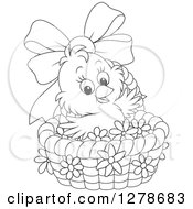 Clipart Of A Black And White Cute Easter Chick In A Basket With A Bow And Flowers Royalty Free Vector Illustration