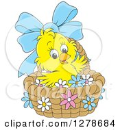Clipart Of A Cute Yellow Easter Chick In A Basket With A Blue Bow And Flowers Royalty Free Vector Illustration