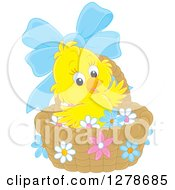 Clipart Of A Cute Easter Chick In A Basket With A Blue Bow And Flowers Royalty Free Vector Illustration