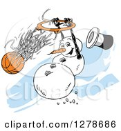 Clipart Of A Winter Snowman Slam Dunking A Basketball Over Blue Streaks Royalty Free Vector Illustration by Johnny Sajem