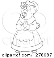 Black And White Senior Woman Or Mrs Claus Clasping Her Hands Together
