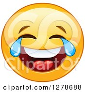 Clipart Of A Yellow Smiley Face Emoticon Laughing So Hard Hes Crying Royalty Free Vector Illustration