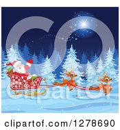 Clipart Of A Christmas Santa Claus And Cute Reindeer Running A Sleigh Through A Magic Winter Night Landscape Royalty Free Vector Illustration by Pushkin