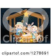 Nativity Scene Of Baby Jesus Joseph Mary And Cute Animals In A Manger At Night