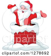 Clipart Of A Christmas Santa Claus Cheering Inside A Chimney On A Roof Top Royalty Free Vector Illustration