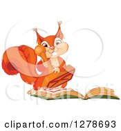 Clipart Of A Cute Squirrel Stamping An X In A Book Royalty Free Vector Illustration