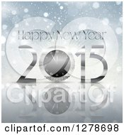 Clipart Of A 2015 Happy New Year Greeting With A Clock On A Reflective Bokeh Background Royalty Free Vector Illustration