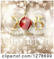 Clipart Of A Gold And Red 3d 2015 Happy New Year Greeting On With A Bauble On Gold Bokeh With Snowflakes Royalty Free Vector Illustration