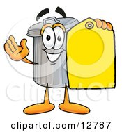 Garbage Can Mascot Cartoon Character Holding A Yellow Sales Price Tag