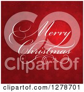 Clipart Of A Fancy White Merry Christmas Greeting Over Red Stars And Snowflakes Royalty Free Vector Illustration
