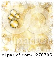 Clipart Of A Gold Christmas Background Of 3d Suspended Ornaments Bokeh Stars And White Snowflake Borders Royalty Free Vector Illustration