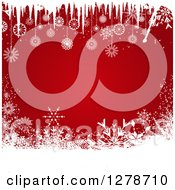 Clipart Of A Red Christmas Background Bordered In White Snowflakes And Icicles Royalty Free Vector Illustration