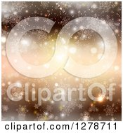 Clipart Of A Golden Christmas Background With Flares Sparkles Bokeh Stars And Snowflakes Royalty Free Vector Illustration