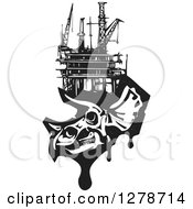 Clipart Of A Black And White Woodcut Apatosaurus Or Brontosaurus Dinosaur Skeleton With An Oil Rig On Its Head Royalty Free Vector Illustration