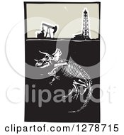 Clipart Of A Woodcut Apatosaurus Or Brontosaurus Dinosaur Skeleton Under An Oil Well And Pumpjack Royalty Free Vector Illustration