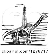 Clipart Of A Black And White Woodcut Apatosaurus Or Brontosaurus Dinosaur Skeleton With An Oil Well Drill On Its Back Royalty Free Vector Illustration