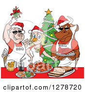 Clipart Of A Bbq Chef Cow Pig And Female Chicken With Food Under Mistletoe At A Christmas Party Royalty Free Vector Illustration