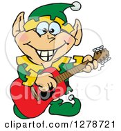 Clipart Of A Happy Male Christmas Elf Playing An Acoustic Guitar Royalty Free Vector Illustration by Dennis Holmes Designs