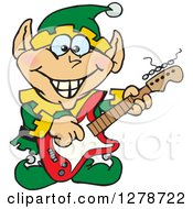 Clipart Of A Happy Male Christmas Elf Playing An Electric Guitar Royalty Free Vector Illustration by Dennis Holmes Designs