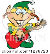Clipart Of A Happy Female Christmas Elf Playing An Acoustic Guitar Royalty Free Vector Illustration by Dennis Holmes Designs