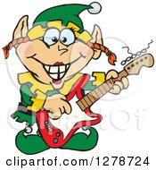 Clipart Of A Happy Female Christmas Elf Playing An Electric Guitar Royalty Free Vector Illustration by Dennis Holmes Designs