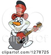 Clipart Of An Evil Snowman Playing An Acoustic Guitar Royalty Free Vector Illustration by Dennis Holmes Designs
