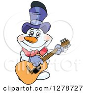 Clipart Of A Happy Mrs Snowman Musician Playing An Acoustic Guitar Royalty Free Vector Illustration