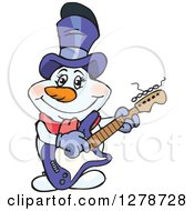 Clipart Of A Happy Mrs Snowman Musician Playing An Electric Guitar Royalty Free Vector Illustration