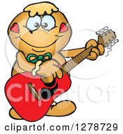 Clipart Of A Happy Gingerbread Man Playing An Acoustic Guitar Royalty Free Vector Illustration