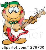 Clipart Of A Happy Gingerbread Woman Playing An Electric Guitar Royalty Free Vector Illustration