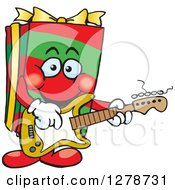 Clipart Of A Happy Gift Character Playing An Electric Guitar Royalty Free Vector Illustration